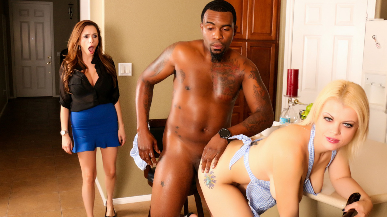 Hot interracial threesome in the kitchen with Nadia